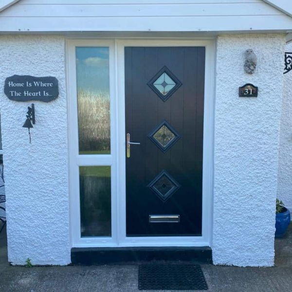 modern front door with side panel in Cardiff