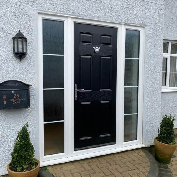 modern composite front door with side panels Cardiff