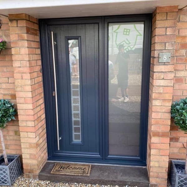 modern composite front door with side panels in Cardiff